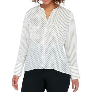 The Limited High Low Pinstripe Blouse 2XL
